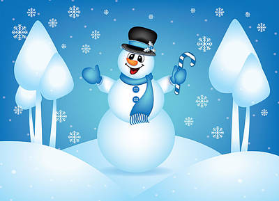 Digital Art - Blue Snowman Christmas Greeting Card by Serena King