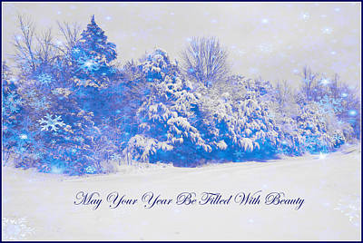 Blue Snowy Christmas Scene Art Print by Angela Comperry