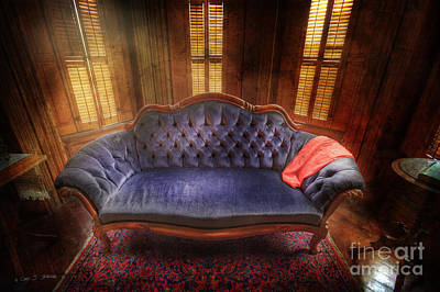 Art Print featuring the photograph Blue Sofa Den by Craig J Satterlee