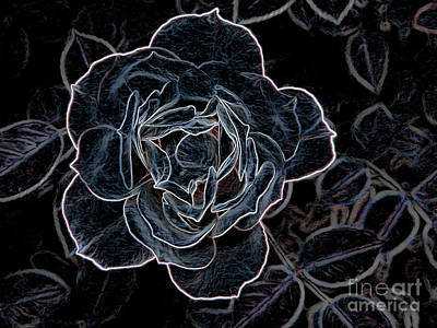 Dreamy Expression Digital Art - Blue Space Rose With Leaves by Brenda Landdeck