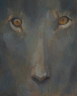 Sphynx Art Painting - Blue Sphinx by Attila Meszlenyi