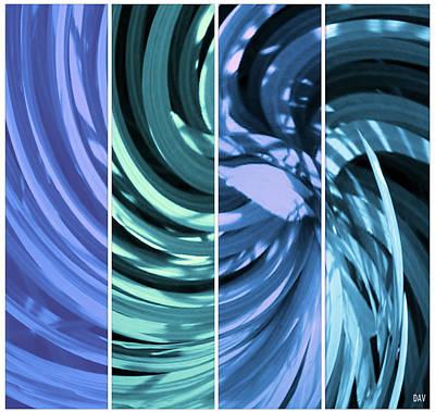 Mixed Media - Blue Spin Tone  by Debra     Vatalaro