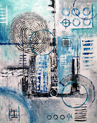 Painting - Blue-spins by Jeremy Aiyadurai
