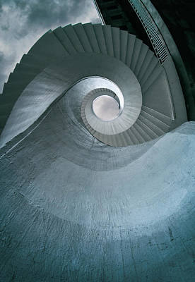 Art Print featuring the photograph Blue Spiral Stairs by Jaroslaw Blaminsky