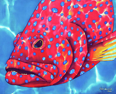 Silk Painting - Blue Spotted Red Coral Grouper Fish by Daniel Jean-Baptiste