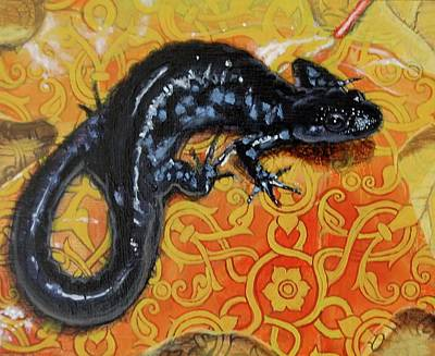 Blue Spotted Salamander  Original by Hagopian Arts