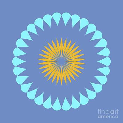 Mandala Blue Square Yellow Abstract Circle Print by Pablo Franchi