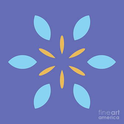 Mini Mandala Blue Square Yellow Abstract Flower Art Print by Pablo Franchi