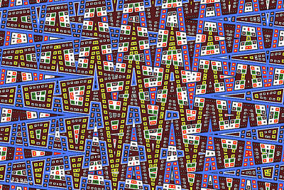 Digital Art - Blue Squares With Dots by Tom Janca
