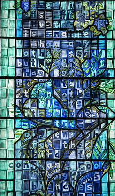 Photograph - Blue Stained Glass by Jean Noren