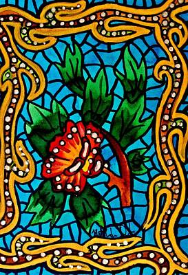 Blue Stained Glass With Flower Original by Dora Hathazi Mendes