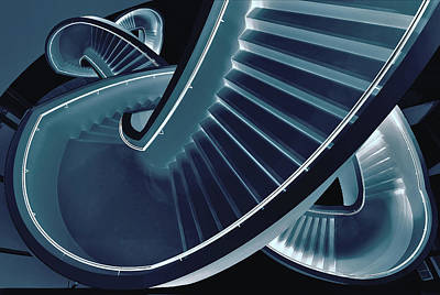Stairs Photograph - Blue Stair by Henk Van Maastricht