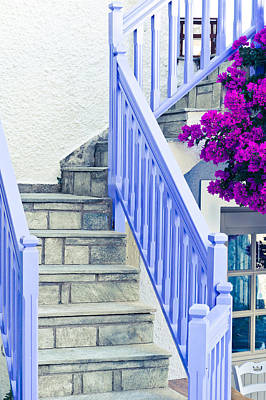 Blue Stair Rail Art Print by Tom Gowanlock