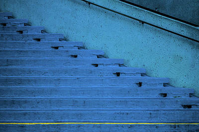 Photograph - Blue Stairs Yellow Line San Francisco by David Smith