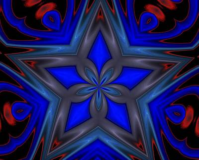 Digital Art - Blue Star by David Lane