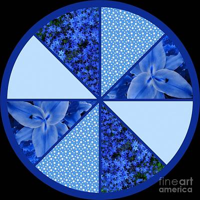 Mixed Media - Blue Stars And Flowers Design 2 by Joan-Violet Stretch
