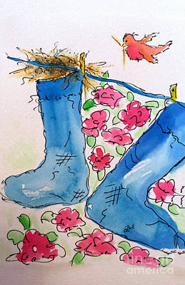 Wall Art - Painting - Blue Stockings by Claire Bull
