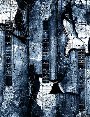 Fender Strat Digital Art - Blue Stratos by Gary Bodnar