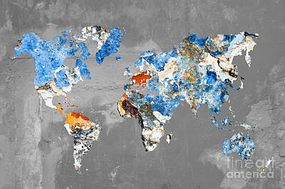 Creation Photograph - Blue Street Art World Map by Delphimages Photo Creations