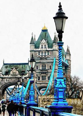 Photograph - Blue Street Lights Lead To Tower Bridge by Dorothy Berry-Lound