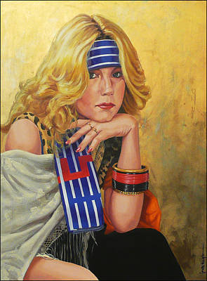 Painting - Blue Striped Bandana by Jack Knight