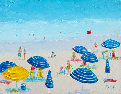 Beach Holiday Painting - Blue Striped Umbrellas by Jan Matson