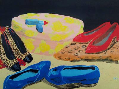 Lip Stick Painting - Blue Suede Shoes by Helen Krummenacker