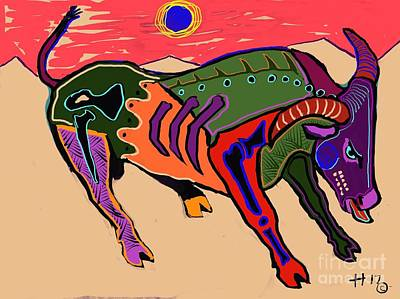 Digital Art - Blue Sun And Bull by Hans Magden