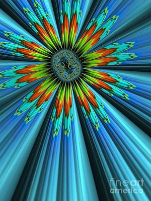 Curves Digital Art - Blue Sun by John Edwards