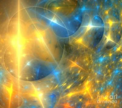 Digital Art - Blue Sun Stars by Kim Sy Ok