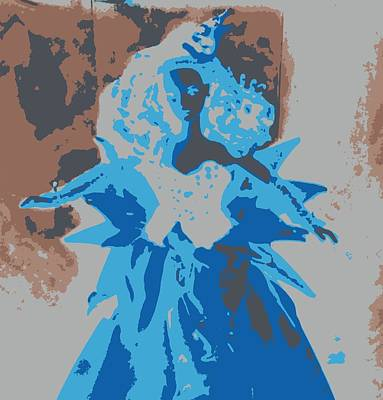 Blue Sunflower Barbie Art Print by Karen J Shine