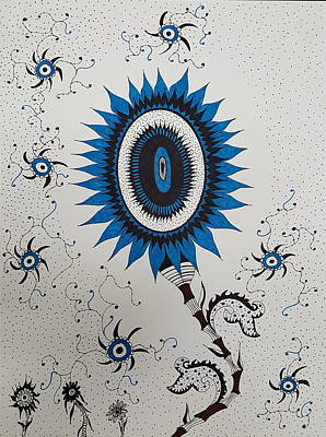 Drawing - Blue Sunflower by Steven Stutz