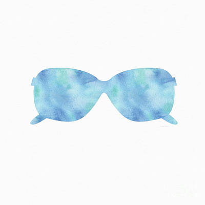 Blue Sunglasses 2- Art By Linda Woods Art Print