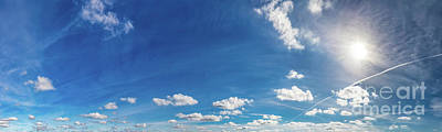 Photograph - Blue Sunny Sky With Fluffy Clouds. Huge Panorama by Michal Bednarek