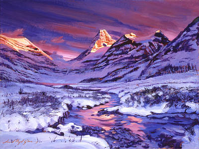 National Park Painting - Blue Sunrise by David Lloyd Glover