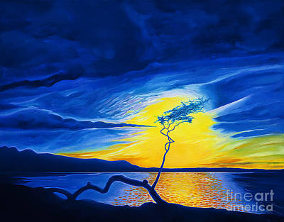 Dramatic Lighting Painting - Blue Sunset At Anaehoomalu by Fay Biegun - Printscapes