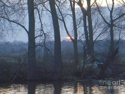 Blue Sunset On Fox River Art Print by Deborah Finley