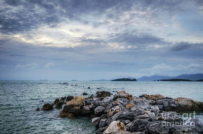 Photograph - Blue Sunset On The Rocks by Michelle Meenawong