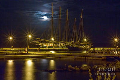 Photograph - Blue Moon Over Clipper Ships Yorktown Virginia by Karen Jorstad