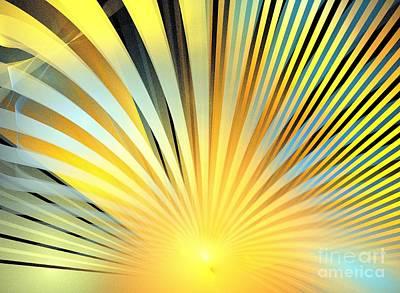 Digital Art - Blue Sunshine Waves by Kim Sy Ok