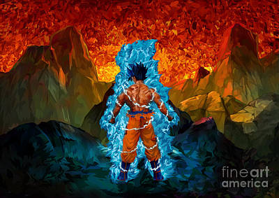 Painting - Blue Super Saiyan by Three second