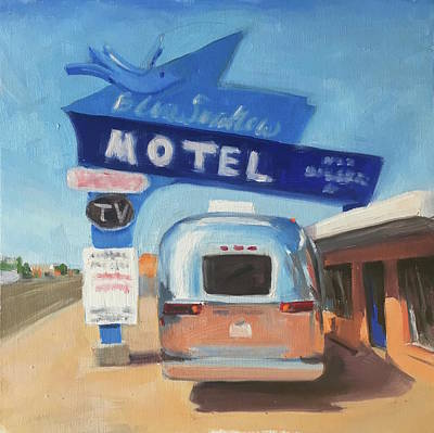 Airstream Trailer Painting - Blue Swallow Motel by Elizabeth Jose