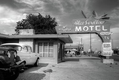 Photograph - Blue Swallow Motel - Historic Route 66 Icon - Black And White by Gregory Ballos