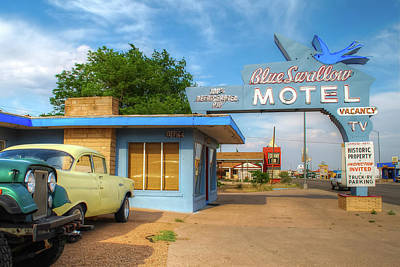 Photograph - Blue Swallow Motel - Historic Route 66 Icon by Gregory Ballos