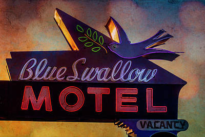 Swallow Mixed Media - Blue Swallow Motel by Tim Leimkuhler