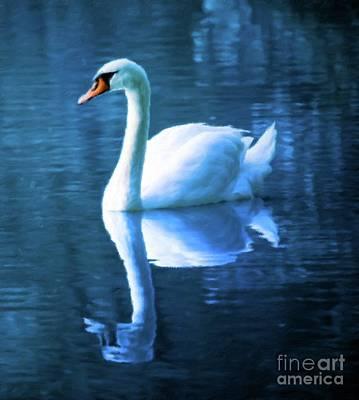 Swans... Painting - Blue Swan by Sarah Kirk