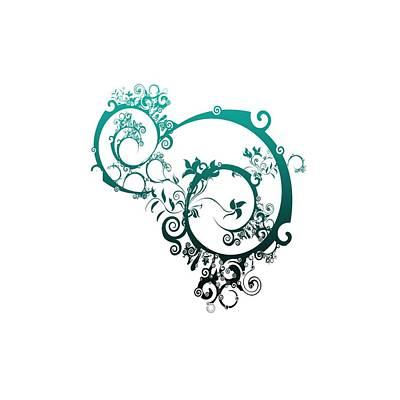 Digital Art - Blue Swirl by L L