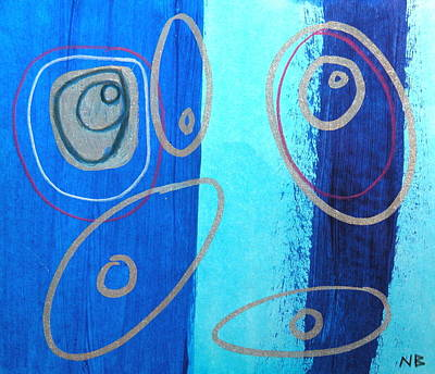 Silver Turquoise Drawing - Blue Swril Number Five by Nina Bravo