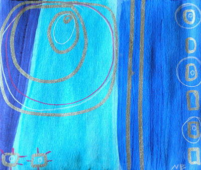 Silver Turquoise Drawing - Blue Swril Number Two by Nina Bravo