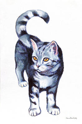 Painting - Blue Tabby Kitten With Orange Eyes by Deanna Yildiz